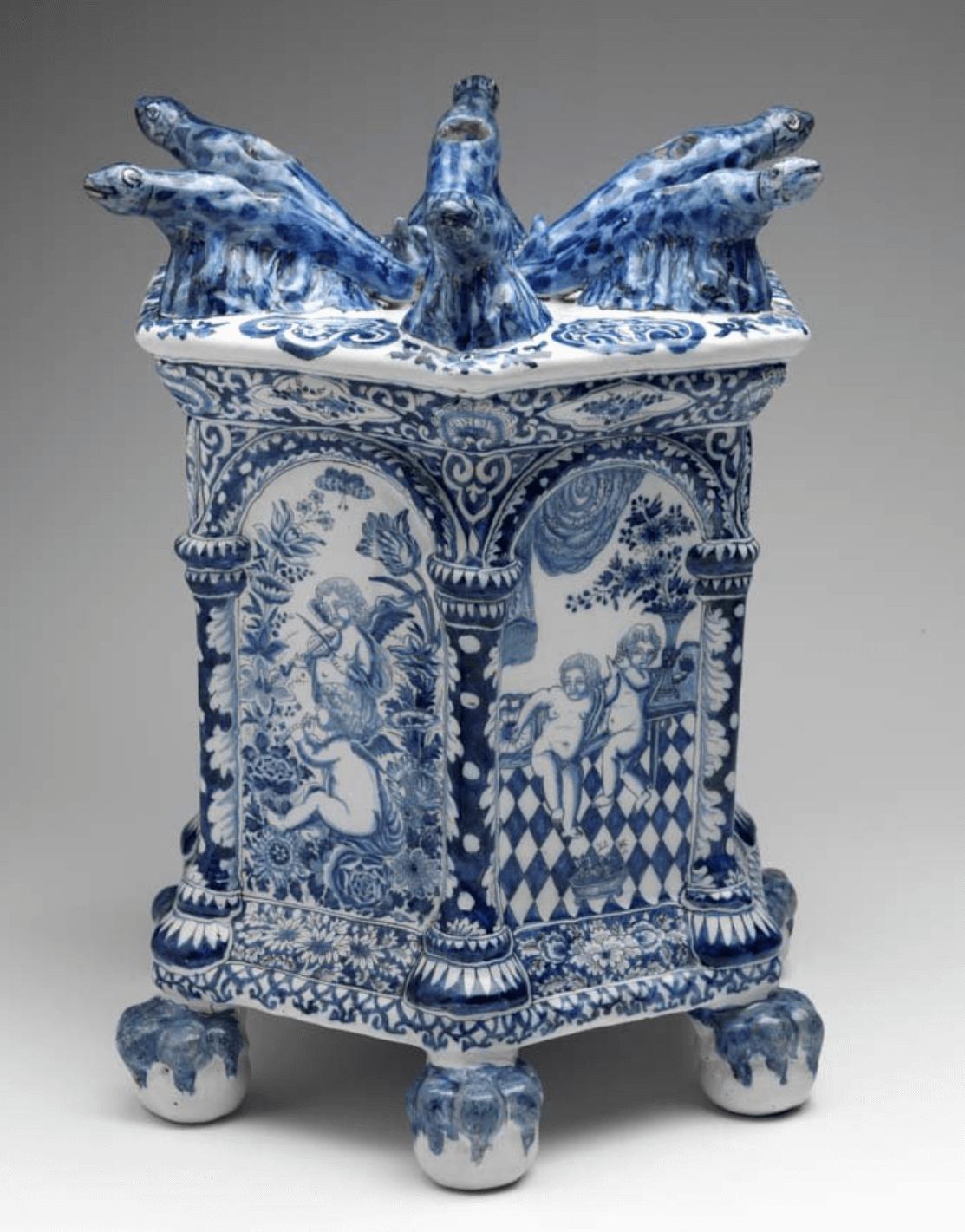 Bloemenhouder Delfts aardewerk De Grieksche A blauw wit