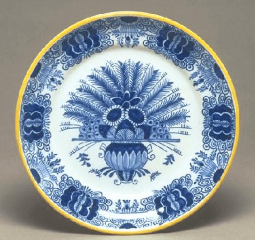 Plate, Desvres. Blue, White, Yellow. 19th Century