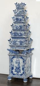 Flower Vase Pyramid Blue White