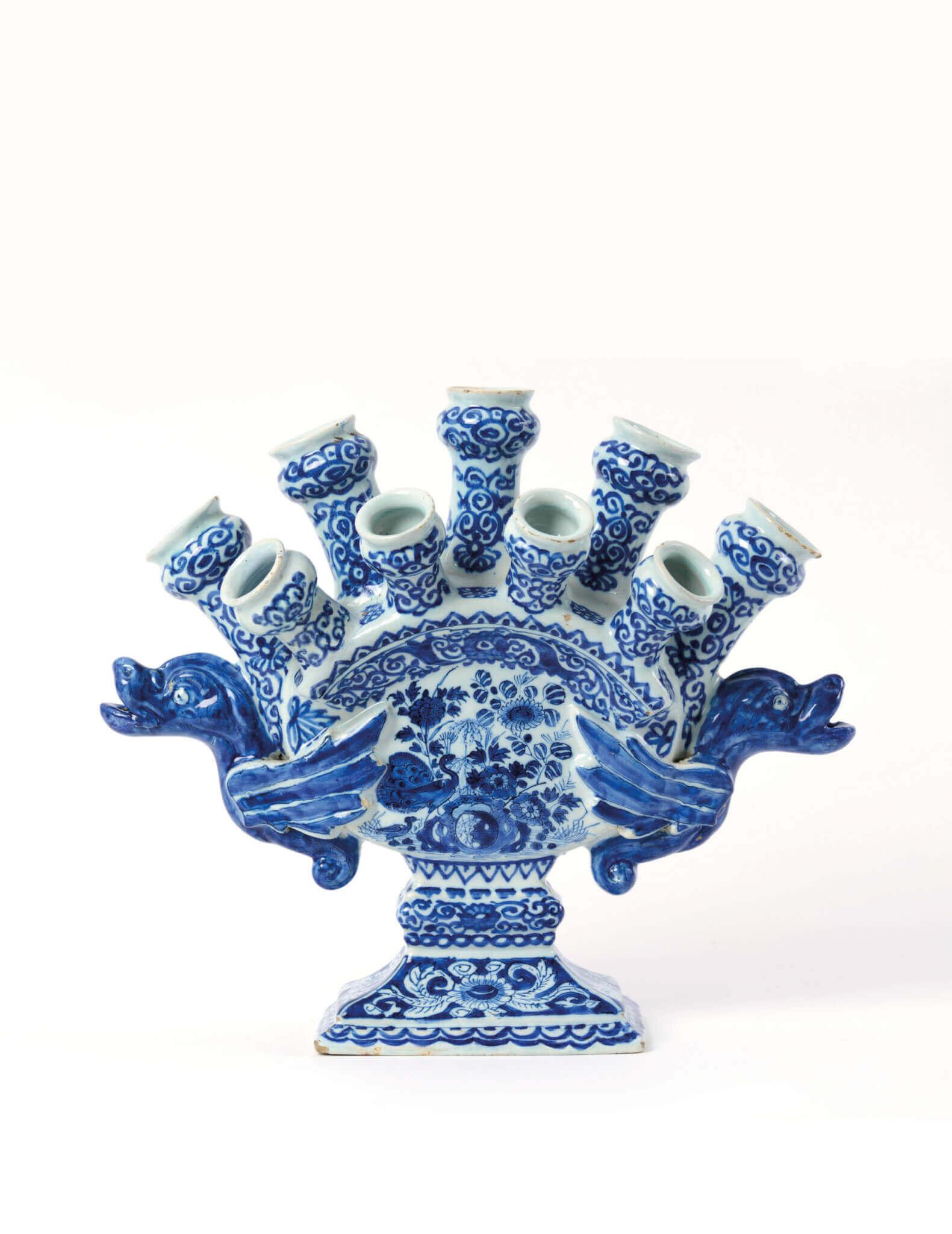 Blue and white Delftware flower vase