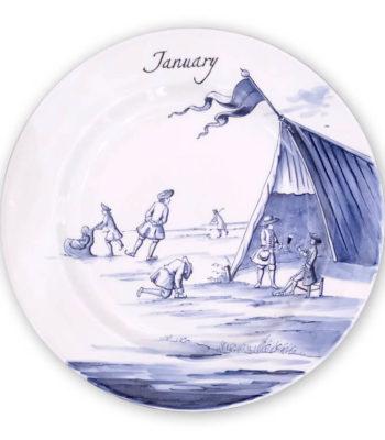 Hand-Painted Limited Edition Seasonal Plate 'January'