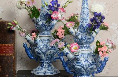 Blue And White Delftware Bowl Flower Vase Flowers