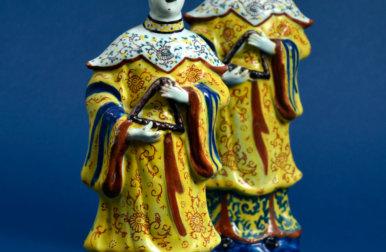 Polychrome Delftware Figures Of Oriental Women