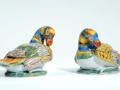 Polychrome Delftware Duck Tureens