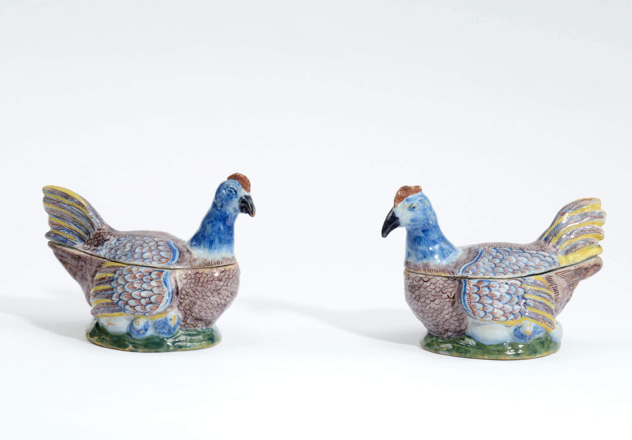 Delftware chicken tureens