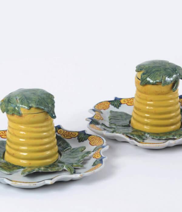 Polychrome Delftware honey pots