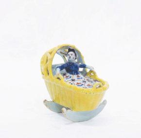 Polychrome Delftware Model Of A Cradle