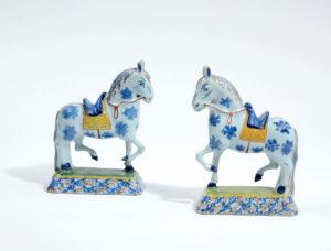 Polychrome Delftware Prancing Horses