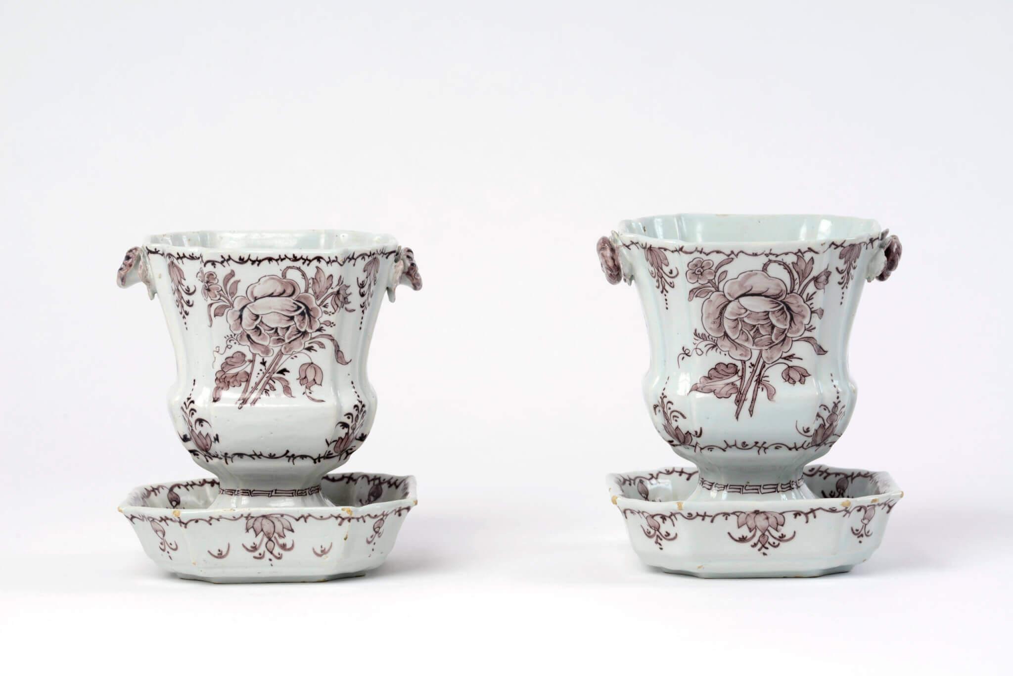 Manganese Delftware jardinières