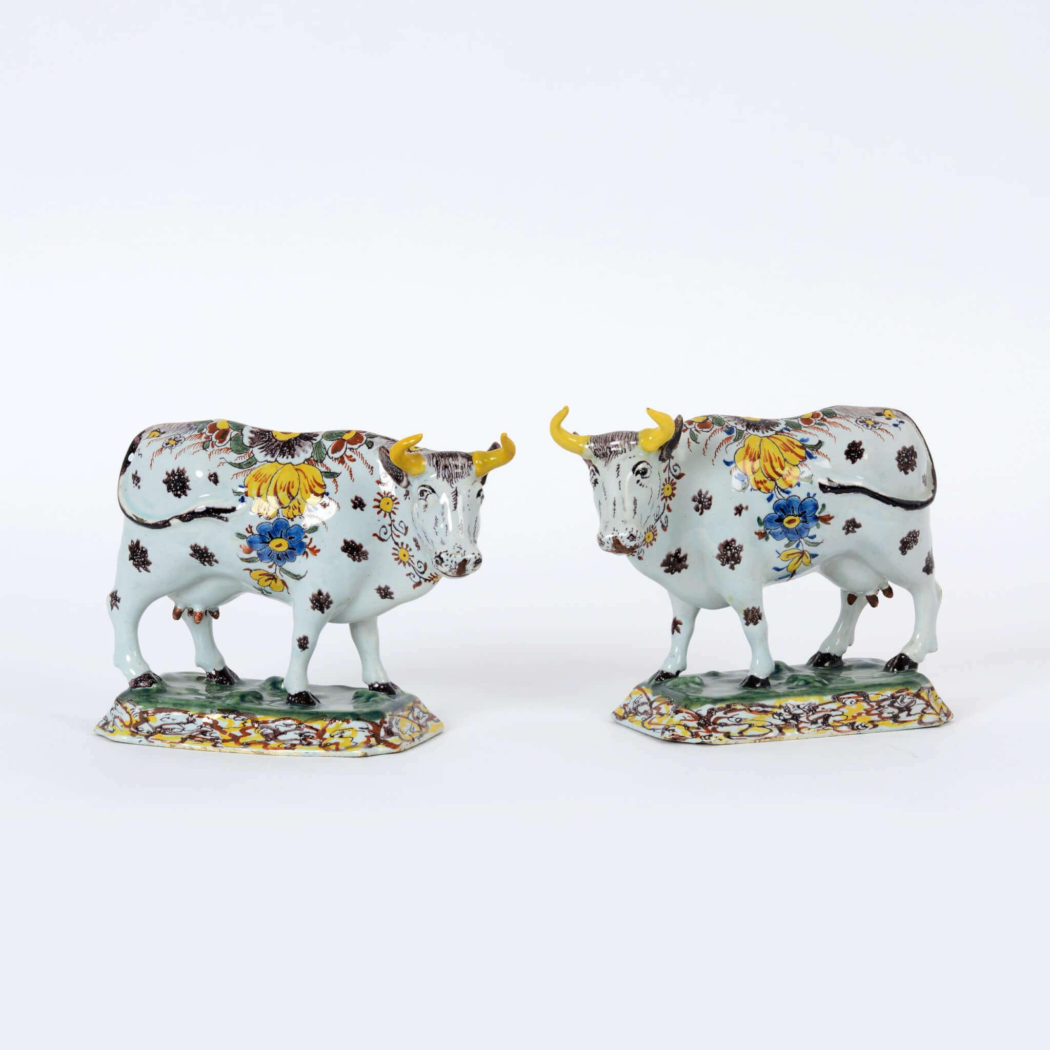 Polychrome Delftware cows
