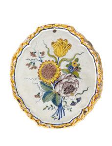 Delftware Polychrome Plaque Bouquet