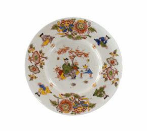 Polychrome Delftware Plate Chinoiserie Decor