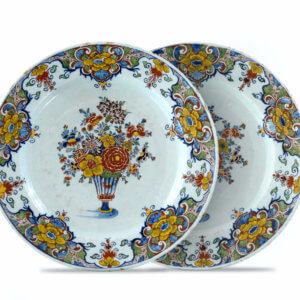 Pair Of Polychrome Delftware Plates Flower Decoration