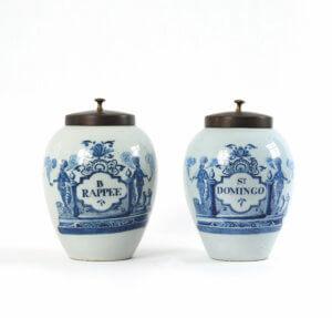 Blue And White Delftware Tobacco Jars