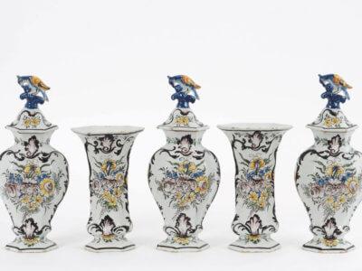 Polychrome Delftware Garniture