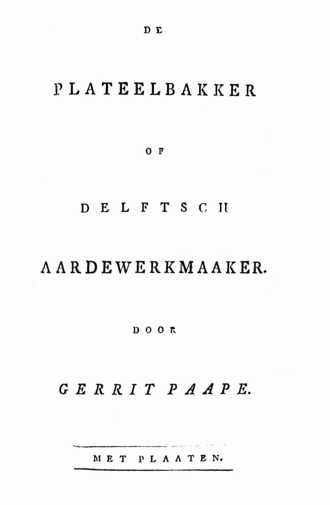 Titelblad De Plateelbakker