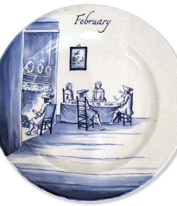 Blue and white modern Delftware plate cosy interior