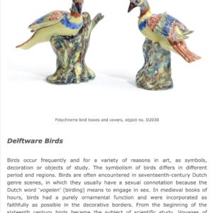 Delftware Newsletter Article On Birds