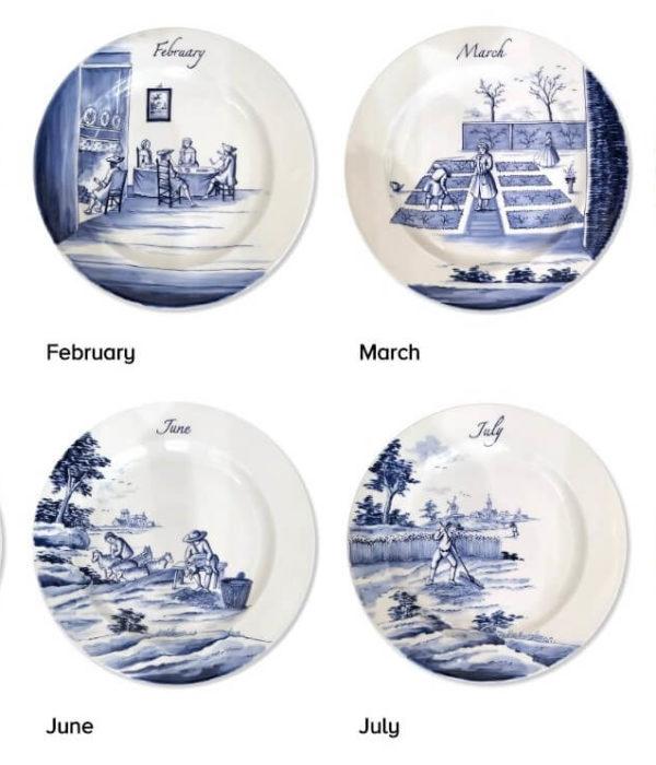Six modern Delftware seasonal plates