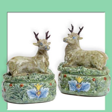 Pair of Delftware Deer Tureens