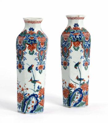 D8830. Pair Of Cashmere Palette Octagonal Rouleau Vases